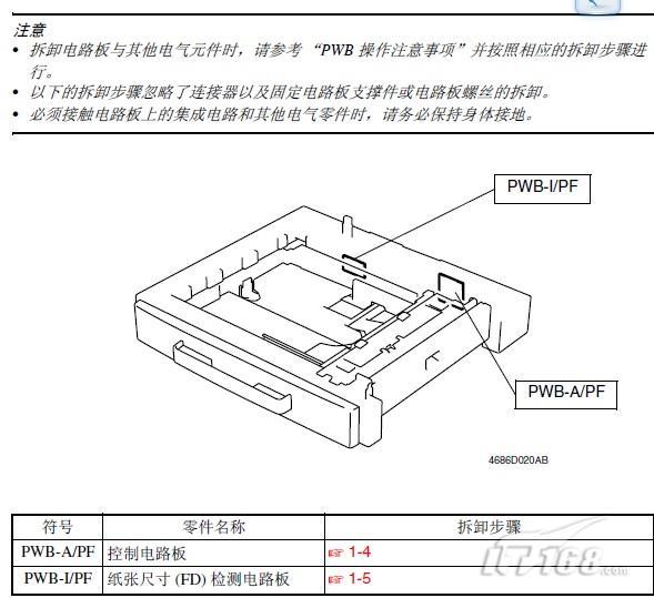 """【IT168 使用技巧】美能达复合机DI1611 20112.1.1 电路板与其他电气元件的拆卸注意:拆卸电路板与其他电气元件时,请参考""""PWB 操作注意事项""""并按照相应的拆卸步骤行; 以下的拆卸步骤忽略了连接器以及固定电路板支撑件或电路板螺丝的拆卸;必须接触电路板上的集成电路和其他电气零件时,请务必保持身体接地。"""