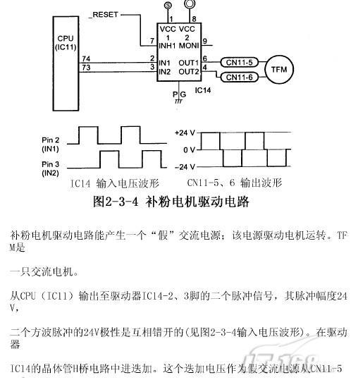 京瓷美达km1560复合机之补粉电机驱动电路