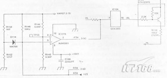 【IT168 使用技巧】  一、定影灯控制电路通过热敏电阻检测热辊表面稳定,见秦转换位电压电平后将其输出值CPU模拟引脚。   CPU把CPU转换为数字信号电平,把此信号电平一测试命令的设定值做比较,并根据此电平来接通。   断开定影灯,吧热辊表面为拟定保持在恒定值。